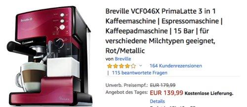 Breville VCF046X PrimaLatte 3 in 1 Kaffeemaschine, Rot/Metallic - jetzt 22% billiger