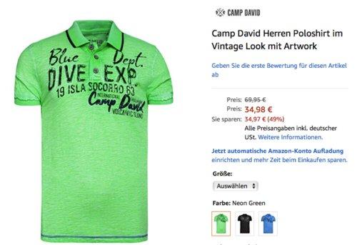 Camp David Herren Poloshirt im Vintage Look mit Artwork, versch.Faben und Größen - jetzt 29% billiger
