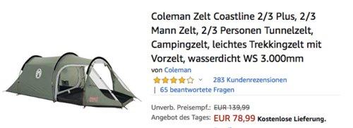 """Coleman Zelt """"Coastline 2 Plus"""", Tunnelzelt für 2 Personen - jetzt 11% billiger"""
