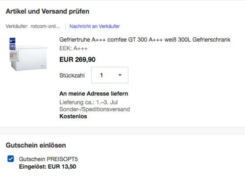 comfee GT 300 Gefriertruhe, 300L, A+++ - jetzt 27% billiger