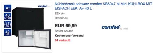 Comfee KB 5047 43 Liter Mini-Kühlschrank, schwarz - jetzt 17% billiger