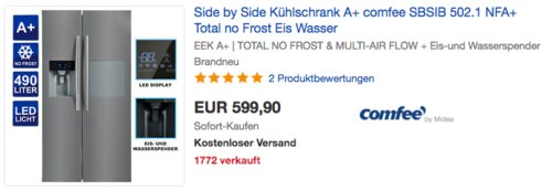 comfee SBSIB 502.1 NFA+ Side-by-Side Kühl-Gefrierkombination, A+ - jetzt 10% billiger