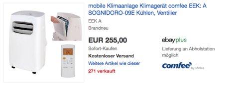 Comfee Sognidoro-09E mobile Klimaanlage (Kühlen, Entfeuchten, Ventilieren) - jetzt 27% billiger