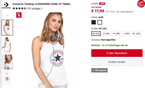 "Converse Damen Tanktop ""CONVERSE CORE CP TANK"" schwarz oder weiß (34-42) - jetzt 28% billiger"