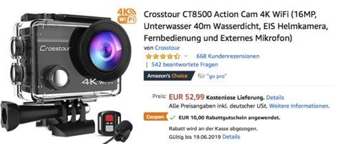 Crosstour CT8500 Action Cam 4K WiFi inkl. Fernbedienung und Externes Mikrofon - jetzt 19% billiger