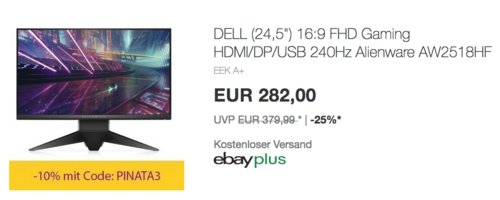 """DELL Alienware AW2518HF 62,2cm (24,5"""") Gaming Monitor (1 ms, 1x DP, 1x HDMI) - jetzt 25% billiger"""