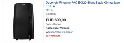 De'Longhi Pinguino PAC EX120 Silent - mobiles Klimagerät mit Abluftschlauch, - jetzt 18% billiger