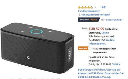 DOSS Soundbox 12 Watt Bluetooth-Lautsprecher mit Touch Sensible, schwarz - jetzt 15% billiger
