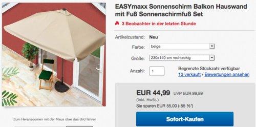 EASYmaxx 230x140 cm Sonnenschirm mit Sonnenschirmfuß, rechteckig - jetzt 35% billiger