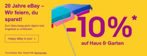 Ebay - 10%-Gutschein für Haus & Garten: z.B. SVITA Metallgerätehaus, 213 × 130 × 173 cm - jetzt 10% billiger