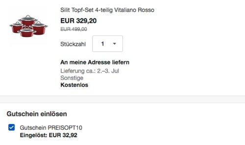Ebay - 10% Rabatt auf ausgewählte Artikel: z.B. Silit Vitaliano Rosso Topfset, 4-teilig, rot - jetzt 10% billiger