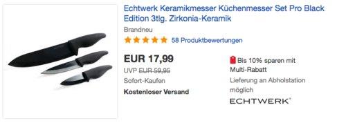 """Echtwerk EW-KM-0140 Keramik Messerset """"Black Edition"""" , 3-teilig - jetzt 10% billiger"""