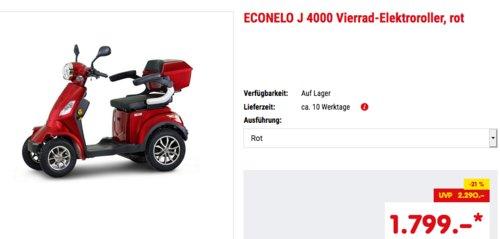ECONELO J 4000 Vierrad-Elektroroller, rot oder braun - jetzt 14% billiger