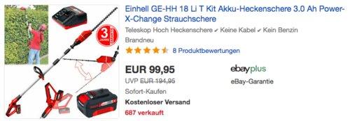 Einhell GE-HH 18 Li T Akku-Heckenschere Set inkl. 1 x 3,0 Ah Akku und Ladegerät - jetzt 9% billiger