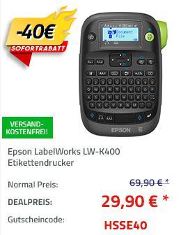 Epson LabelWorks LW-K400 Etikettendrucker (C51CB70340), 180 dpi - jetzt 57% billiger