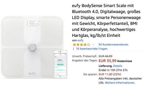 eufy BodySense Smart ScaleBluetooth-Personenwaage, weiß - jetzt 22% billiger
