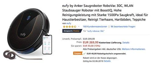 eufy by Anker Saugroboter RoboVac 30C mit 1500Pa Saugleistung - jetzt 15% billiger