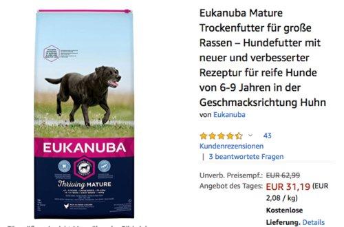 Eukanuba Mature Trockenfutter für große Rassen in der Geschmacksrichtung Huhn, 15 kg - jetzt 16% billiger