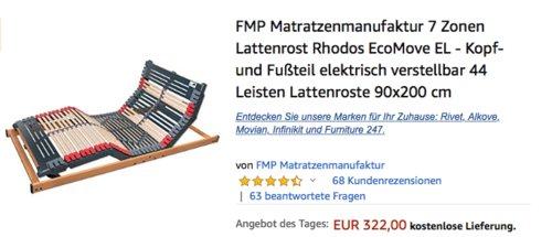 FMP Matratzenmanufaktur 90x200 cm 7 Zonen Lattenrost Rhodos EcoMove EL - Kopf- und Fußteil elektrisch verstellbar - jetzt 10% billiger