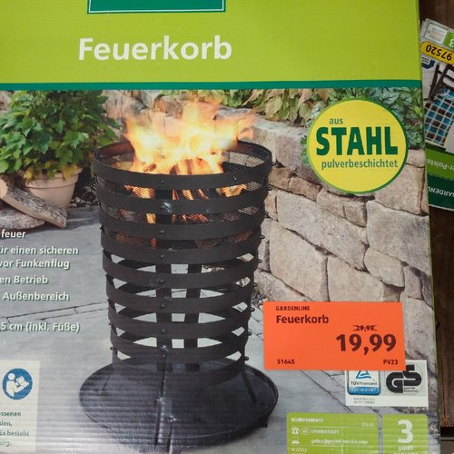 GARDENLINE Feuerkorb, 46 x 63,5 cm - jetzt 33% billiger