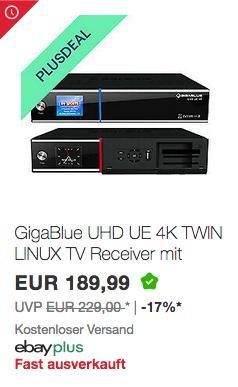 GigaBlue UHD UE 4K Receiver, 2x DVB-S2 - jetzt 10% billiger