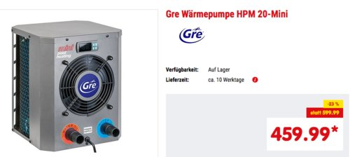 Gre HPM20 - Mini-Wärmepumpe für Aufbau-Pool bis zu 20 m3 - jetzt 14% billiger