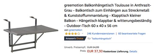 """greemotion Balkonhängetisch """"Toulouse"""" zum Einhängen, 60 x 40 x 56 cm - jetzt 17% billiger"""