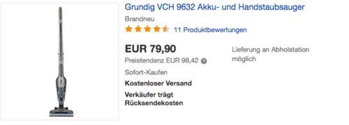 GRUNDIG VCH 9632 Akku- und Handstaubsauger - jetzt 13% billiger