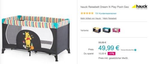 """hauck Reisebett Dream N Play """"Pooh Geo"""", 120 x 60 cm - jetzt 17% billiger"""