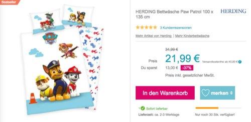 """HERDING Bettwäsche """"Paw Patrol"""" 100 x 135 cm - jetzt 8% billiger"""
