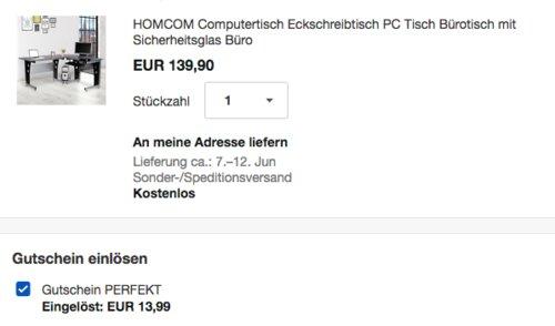 HOMCOM Computertisch/Eckschreibtisch mit schwarzem Sicherheitsglas - jetzt 10% billiger
