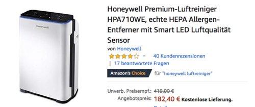 Honeywell HPA710WE Premium-Luftreiniger mit HEPA Allergen-Entferner und Luftqualität Sensor - jetzt 20% billiger