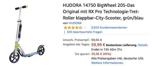 HUDORA 14750 BigWheel 205 Tretroller, grün/blau - jetzt 25% billiger