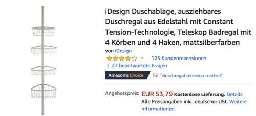 iDesign Duschablage 42860EU, ausziehbares Duschregal aus Edelstahl mit 4 Körben und 4 Haken - jetzt 22% billiger