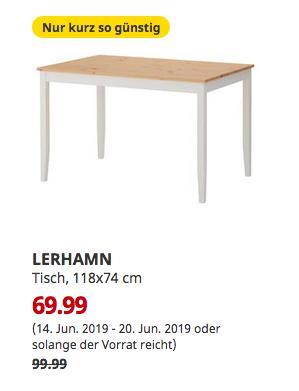 IKEA Berlin-Spandau - LERHAMN Tisch, Antikbeize hell, weiß gebeizt, 118x74 cm - jetzt 30% billiger