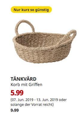 IKEA Berlin-Spandau - TÄNKVÄRD Korb mit Griffen, Seegras, 35 cm - jetzt 40% billiger