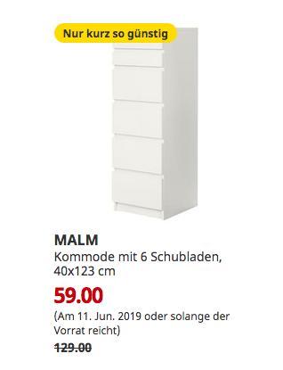 IKEABremerhaven - MALM Kommode mit 6 Schubladen, weiß, Spiegelglas, 40x123 cm - jetzt 54% billiger