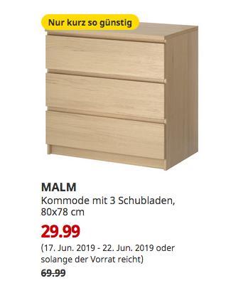 IKEA Bremerhaven - MALM Kommode mit 3 Schubladen, Eichenfurnier weiß lasiert, 80x78 cm - jetzt 57% billiger