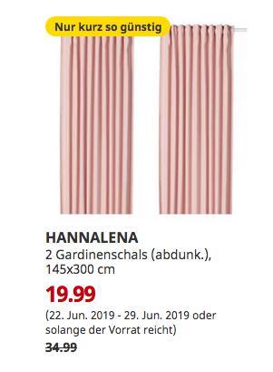 IKEA Brinkum - HANNALENA 2 Gardinenschals (abdunk.), hellrosa, 145x300 cm - jetzt 43% billiger
