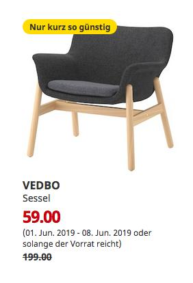 IKEA Brinkum - VEDBO Sessel, Gunnared dunkelgrau - jetzt 70% billiger