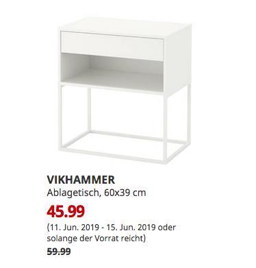 IKEA Chemnitz - VIKHAMMER Ablagetisch, weiß, 60x39 cm - jetzt 23% billiger