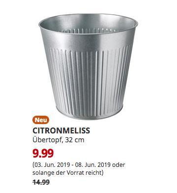 IKEA CITRONMELISS Übertopf, drinnen/draußen verzinkt, 32 cm - jetzt 33% billiger