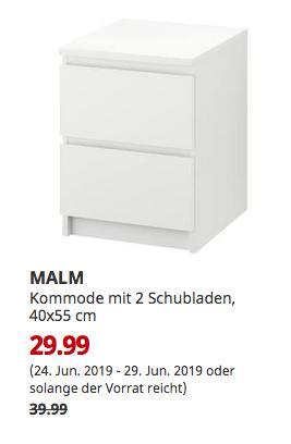 IKEA Düsseldorf - MALM Kommode mit 2 Schubladen, weiß, 40x55 cm - jetzt 25% billiger