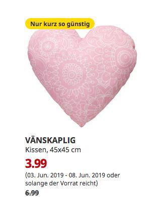 IKEA Dortmund - VÄNSKAPLIG Kissen, rosa, 45x45 cm - jetzt 43% billiger