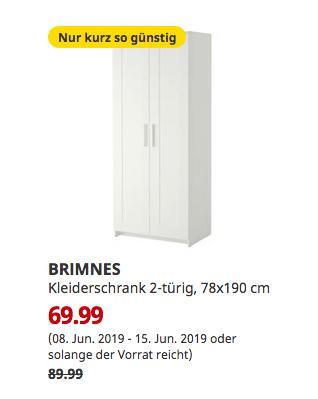 IKEA Duisburg - BRIMNES Kleiderschrank 2-türig, weiß, 78x190 cm - jetzt 22% billiger
