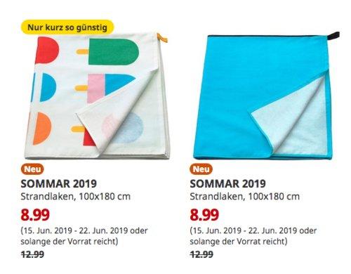 IKEA Duisburg - SOMMAR 2019 Strandlaken, 100x180 cm, bunt oder blau - jetzt 31% billiger