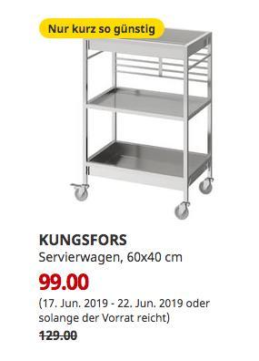IKEA Frankfurt - KUNGSFORS Servierwagen, Edelstahl, 60x40 cm - jetzt 23% billiger