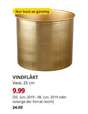 IKEA Hanau - VINDFLÄKT Vase, goldfarben, 25 cm - jetzt 60% billiger