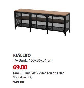 IKEA Kaiserslautern - FJÄLLBO TV-Bank, schwarz, 150x36x54 cm - jetzt 54% billiger