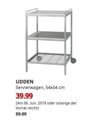 IKEA Kaiserslautern - UDDEN Servierwagen, silberfarben, Edelstahl, 54x54 cm - jetzt 33% billiger